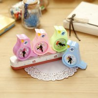 Wholesale Stationery Pencil For Children - Wholesale-1 X Kawaii Birds Alarm Clock Hand Pencil Sharpener Child Stationery Escritorio Papeleria for Kids Creative Item Gift Stationery