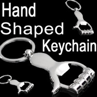 Wholesale Metal Shaping Hand Tools - Creative Hand shaped Beer Bottle Opener Keychain Personalized Metal Zinc alloy Bottle Opener Bar Tool B103Q