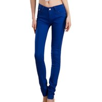Wholesale Candy Colored Jeans - Wholesale- MYTL Summer Rose Red Female Stretch Candy Colored Pencil Women's Pants Sexy Elastic Cotton Jeans Pants Denim Trousers
