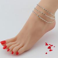 kristall perlen fußkettchen großhandel-Großhandel New Silver Tone 3 Reihen Crystal Strass Fußkettchen Ball Beads Fuß Kette Knöchel Armband Diamante Kostenloser Versand