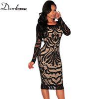 Wholesale Dear Dress - Wholesale- Dear lover Black White Net Nude Illusion Long Sleeves Midi Dress Sexy women pencil dresses roupa feminina 2017 Plus size LC60469
