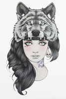 Wholesale Wolf Tattoo Stickers - Wholesale-Girl with Wolf Head Tattoo 21 X 15 CM Sized Sexy Cool Beauty Tattoo Waterproof Hot Temporary Tattoo Stickers