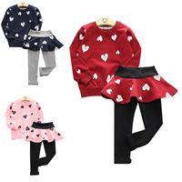 Wholesale Hoodies Skirts Leggings Girls - Girls Long Sleeve Shirts + Leggings With TUTU Skirts Autumn Kids Hoodie Clothing Sets Children Fleeces Outfits