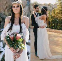 Wholesale Empire Greek Dress - Pregnant Wedding Dresses 2017 Boho Lace Chiffon Bohemian Wedding Dress Empire Waist A Line Greek Style Bridal Gowns