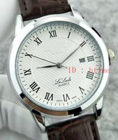 yeni saatler lüks izlemek toptan satış-2017 Yeni Lüks Marka Gümüş Siyah Deri Spor Erkekler Saatler İzle Kuvars Saat Saat Spor Erkek Kol Saati Relogio otomatik Masculino