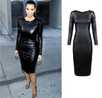 Wholesale leather midi dresses - 10pcs Women Jumpsuit Bandage Ladies' PU Dress Leather Long Short Sleeve Women Crew Neck Sexy Bodycon Midi Dress M072