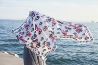 Wholesale Grey Scarf Skull - High quality butterfly skull printing women beach scarf summer wraps black white grey 3colors 10pc lot