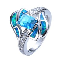 Wholesale 14kt Gold Wholesale - Wholesale- Blue jewelry High Quality Opal Ring 14KT White Gold filled 925 sterling silver jewelry wedding rings for women RP0013