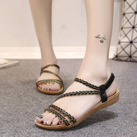 Wholesale Black Roman Gladiator Sandals - New 2017 summer Korean fashion fish mouth Roman shoes braided belt flat sandals foreign trade women designer sandals