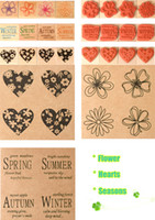Wholesale Decorative Rubber Stamps Set - Wholesale- Vintage blessing and flower decorative stamp gift set craft wood + rubber stamps for decoration lot