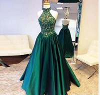 Wholesale emerald party dresses - Fashion Halter Evening Dresses 2017 Emerald Green Appliques Sexy Back A Line Satin Floor Length Formal Prom Party Gown Custom Made
