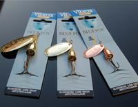 döner balık kancaları toptan satış-Sıcak Spinner Bait Balıkçılık Lure Kanca 6 Boyut 3 Renkler Tatlısu Spinnerbaits Bionic VIB Bıçaklar Metal Mastar Yemler kaşık yem