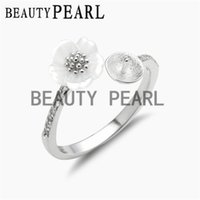 Wholesale White Rings Blanks - 5 Pieces Pearl Ring Blanks 925 Sterling Silver White Shell Flower Ring Semi Mount for DIY