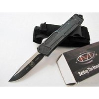 Wholesale Microtech Tactical Knives - Microtech Scarab D E Knives Double Action Optional Hunting Folding Pocket Knives Survival Gear Knives Tactica Black Aluminum Handle with Box