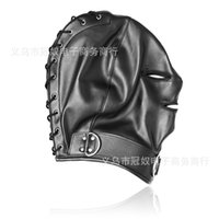 Wholesale Face Mask Woman Sex - head hood bdsm bondage gear restraints slave training black pu face head mask with zipper adult sex toys for men and women