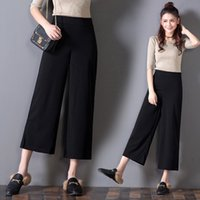 Wide Leg palazzo pants women - Super New Fashion Summer Wide Legging Woman Trouser Cropped Elastic Waist Woman Loose Pants Black Palazzo Elegant Casual Summer
