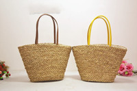 Wholesale Korean Straw Beach Bags - Wholesale-Free shipping hot sale Fashion Women Summer Simple Casual Straw Bag Beach Tote Shoulder Bag Handbag New