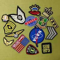 Wholesale Fabric For Jacket - 15pcs Iron On Patches Biker Badge Motorcycle Military Punk Patch For Clothing Jacket parches Fabric Patchwork Garment Appliques Decoration
