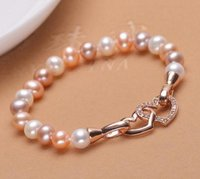 8-9mm White Pink Purple Mixed Color Pulseira de pérolas naturais Double Love Pearl Hand Chain