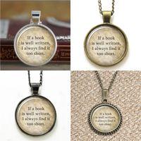 Wholesale Alloy Wells - 10pcs If a Book is Well Written Pendant Jane Austen Book Lover Gift Glass Photo Necklace keyring bookmark cufflink earring bracelet