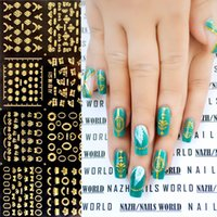 Wholesale Nail Art Stickers Crown - Wholesale-12pcs Gold 3D Nail Stickers Heart Crown Bowknot Butterfly Flower Patterns Nail Art Decorations Easy and Fast Stickers # 5617