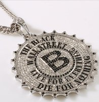 En alliage Sticky Drill Gear marque ronde B HIPHOP collier