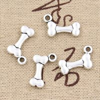 Wholesale Tibetan Bone Necklace - Wholesale-99Cents 12pcs Charms dog bone 16*10mm Antique pendant fit,Vintage Tibetan Silver,DIY bracelet necklace