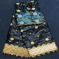 Wholesale Damask Guinea Brocade - Damask shadda bazin riche guinea brocade fabric with powder blue & gold embroidery for party