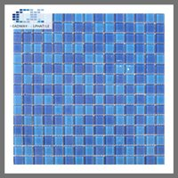 Wholesale Square Crystals 4mm - China Foshan indoor factory price swimming pool glass tile 4mm Aqua blue mosaic tile crystal tile