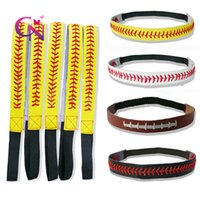 Wholesale Softball Braided Headbands - 20 Colors Baseball Softball Headbands Leather Braided Sports Team Stitching Stretchy Hairbands For Sports Girl Shipping BY DHL
