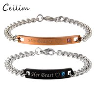 Wholesale Wholesale Beauty Beast - Hot selling high quality titanium steel bracelet jewelry Her King His Queen Her Beast His Beauty lover bracelet & bangle for women men