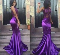 Wholesale Satin Short Halter Neck Dresses - 2017 New Lace Purple Halter Open Back Mermaid Mermaid Prom Dresses Cheap Sleeveless Sexy Appliques Dresses Evening Wear Arabic Party Gowns