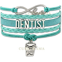 Wholesale waxed floss resale online - Custom Infinity Love Dentist Bracelets Dental Floss Charm Wrap Gift for Dentists Turquoise Wax Suede Leather Any Themes