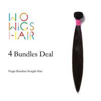 Wholesale Wholesale Virgin Burmese Hair - Wholesale-WoWigs Hair Brazilian Virgin Hair Straight 4 Bundles Deal Natural Color 1B