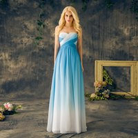 Wholesale Sweetheart Gradient Prom Dress - Blue Ombre Prom Dresses Sweetheart Chiffon Lace Up Back Long Floor Length Gradient Evening Party Dresses Graduation Gowns Custom Made