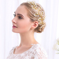 Wholesale New Wedding Dresses Hair Accessories Wedding Bridal Crystal Veil Faux Pearls Tiara Crown Headband Hair Accessories for party