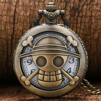 Wholesale One Piece Watch Luffy - Wholesale-Cartoon Watch Steampunk Bronze Vintage Retro One Piece Luffy Pocket Watches Necklace Pendant Gift Free Shipping