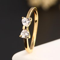 Wholesale Gold Plated Alloy Austria Crystal - Gold Color Austria Crystal rings High Quality Zircon Bowknot ring wedding engagement Rings Women Jewelry HZ