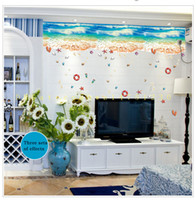 Wholesale Background Design For Tv Wall - [SK9174N] blue beach nano wall stickers entrance bedroom TV background ground seamless splicing stickers