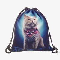 Wholesale Top String Girls - Cats 3D Print Drawstring Backpacks For Youth New Arrival Girls Casual Oxford Coth Strap Animal Bags Top Quality Freeshipping
