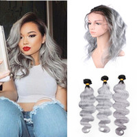 Wholesale Brazilian Bands - Ombre Hair Extensions With 360 Lace Frontal 1B Grey Dark Root Ombre Body Wave Virgin Hair Bundles With Full Frontal Lace Band Closure