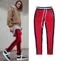 Wholesale Korean Hip Hop Clothes - justin bieber 90s korean hip hop fashion urban clothing kanye west men jumpsuit jogger side zipper track pants stripe sweatpants