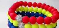 Wholesale Neon Bracelet Fluorescence - new Hot Neon Bracelet fluorescence Color Beads Disco Shamballa Ball stand stretch bracelets handcraft jewelry