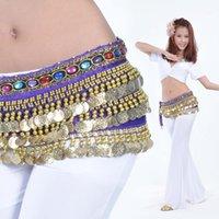 Wholesale Scarf Belly Velvet - Belly Dance Costume Hip Scarf Belt Chain Velvet & 228pcs Golden Coins 9 Colors