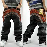 Wholesale colour jeans - Wholesale- 3 colours 2016 Men hip hop jeans skateboard men baggy jeans denim hit hop pants Fashion casual loose jeans rap street wear 30-46