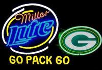 "Wholesale White Lager - NEW Miller Lite Green BayPackers GLASS NEON SIGN BEER GLASS NEON LIGHT BEER LAGER BAR SIGN 18"" 19"" 24"" 32"""
