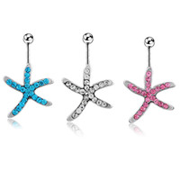 Wholesale Belly Button Ring 14g Surgical - Belly Button Rings Starfish Animal Sexy Cute 316L Surgical Steel 14G Navel Rings Jewelry