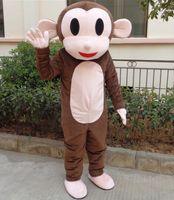 trajes de macaco para adultos venda por atacado-SX0720 com um mini ventilador dentro do traje de mascote de macaco marrom cabeça para adulto para venda