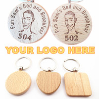 Wholesale Metal Keychain Promotional Gift - Your LOGO Customized Wodden Keychain Engraved Your Company Name Photo Phone # Custom Business Advertising Promotional Gifts Wood Key Chain