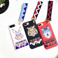 Wholesale 3d Case Tiger - for Apple iPhone 8 7 Case for iPhone7 6 6S PLus Soft TPU Cover 3D Europe Animal Tiger & Rabbit Stud Rivet Wrist Strap